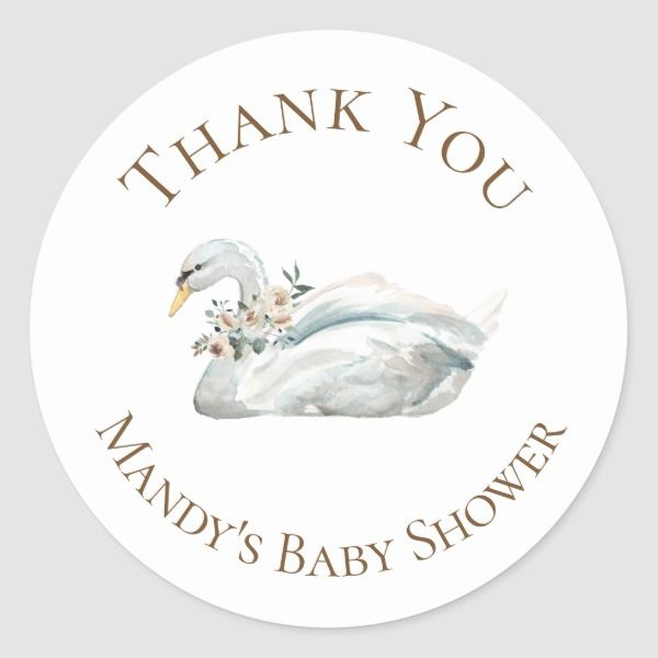 Elegant Floral Swan Thank You Classic Round Sticker ...