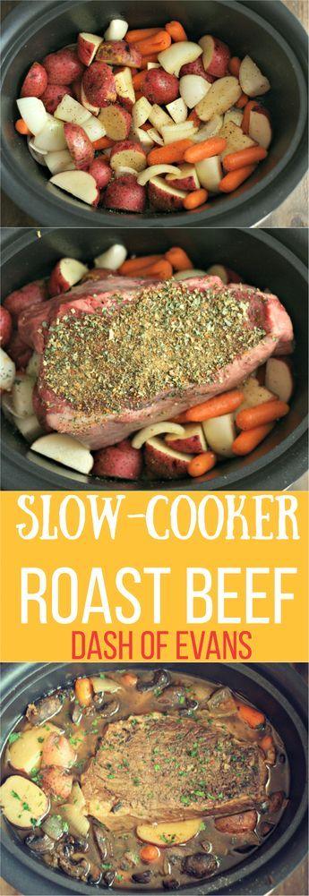 Looking for a simple, comfort food favorite? Try this Slow-Cooker Roast Beef using a Rump Roast. YUM! via @DashOfEvans