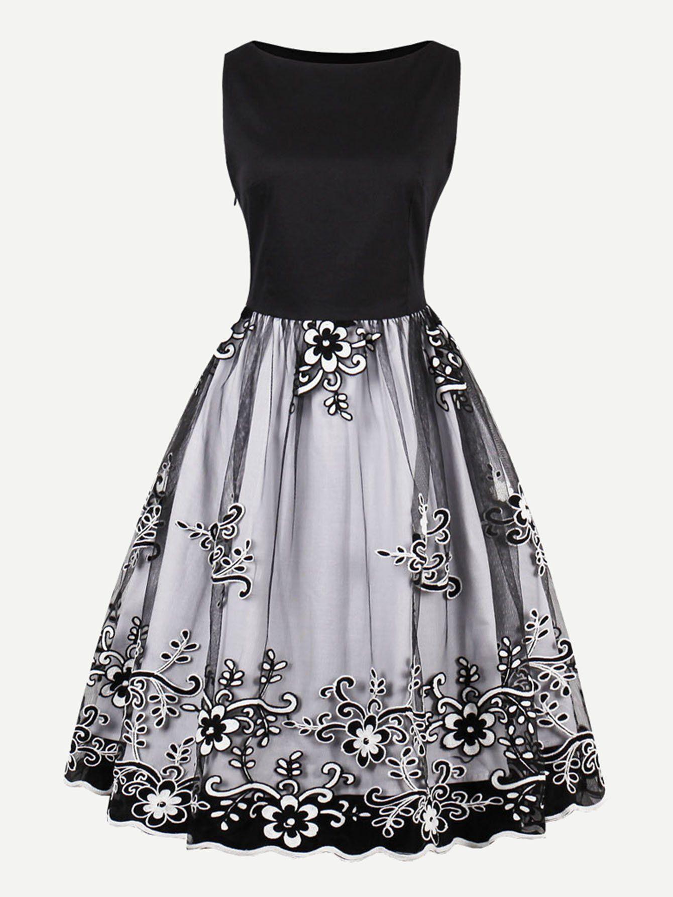 19b167019500 Flower Embroidered Mesh Overlay Combo Dress -SheIn(Sheinside ...