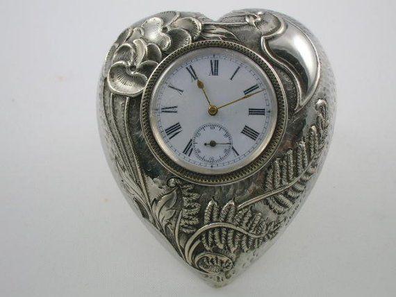 Sterling Silver Art Nouveau Clock Signed Buller Co 1902