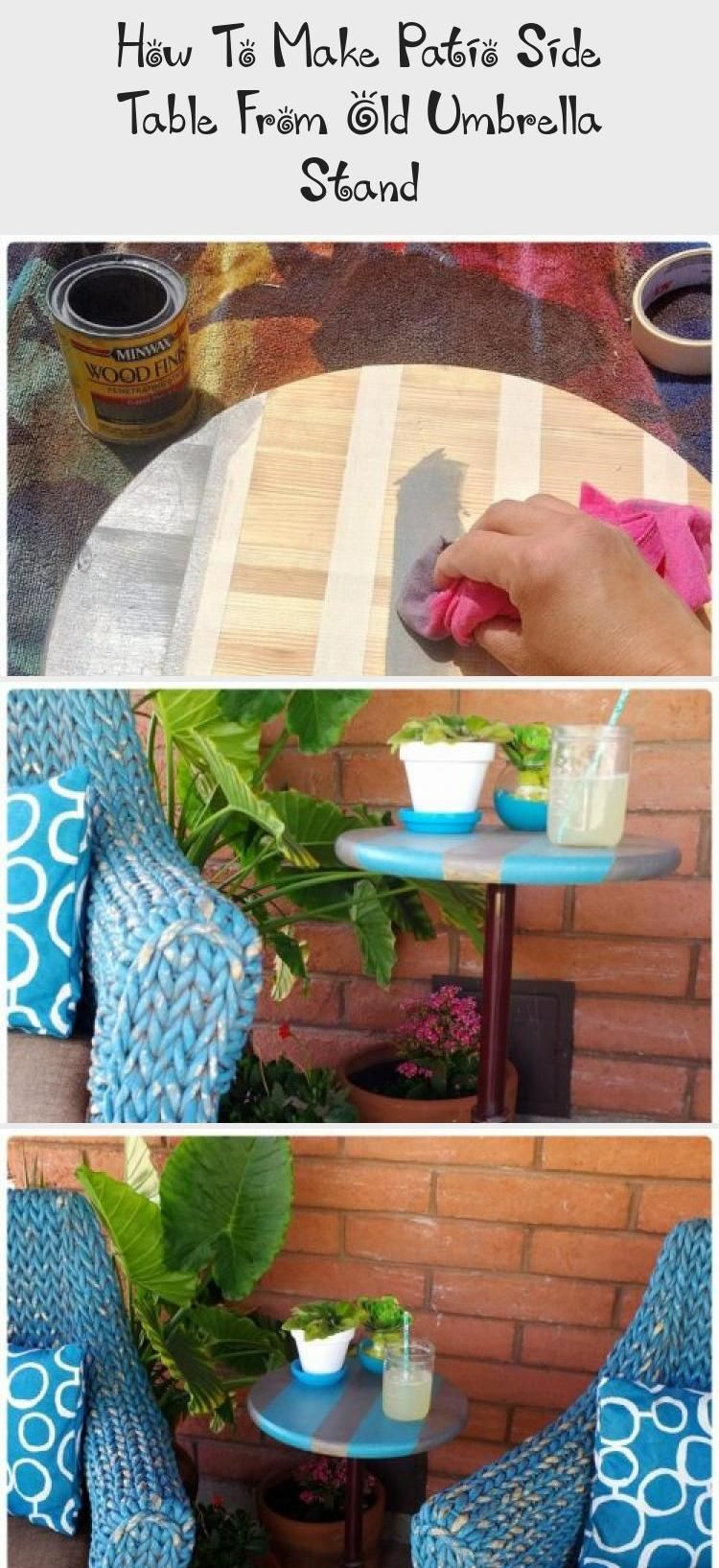 How To Make Patio Side Table From Old Umbrella Stand #outdoorumbrellastand