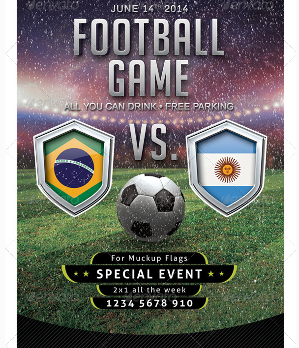 Flyer Soccer Template With Mockup Shield Party Flyer Templates For