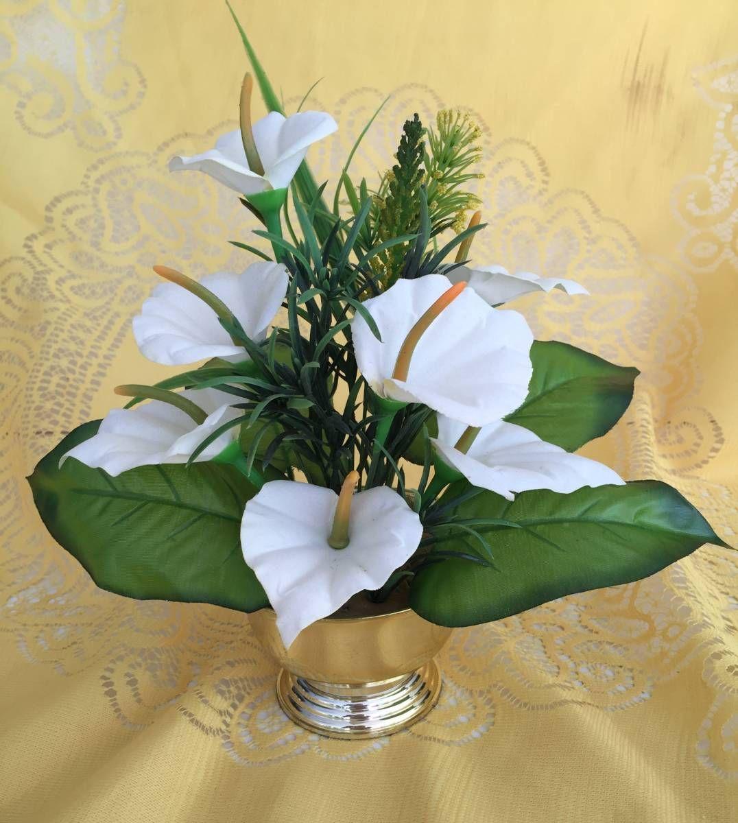 Arranjo Floral Artificial Mini Copo De Leite Branco 20609441