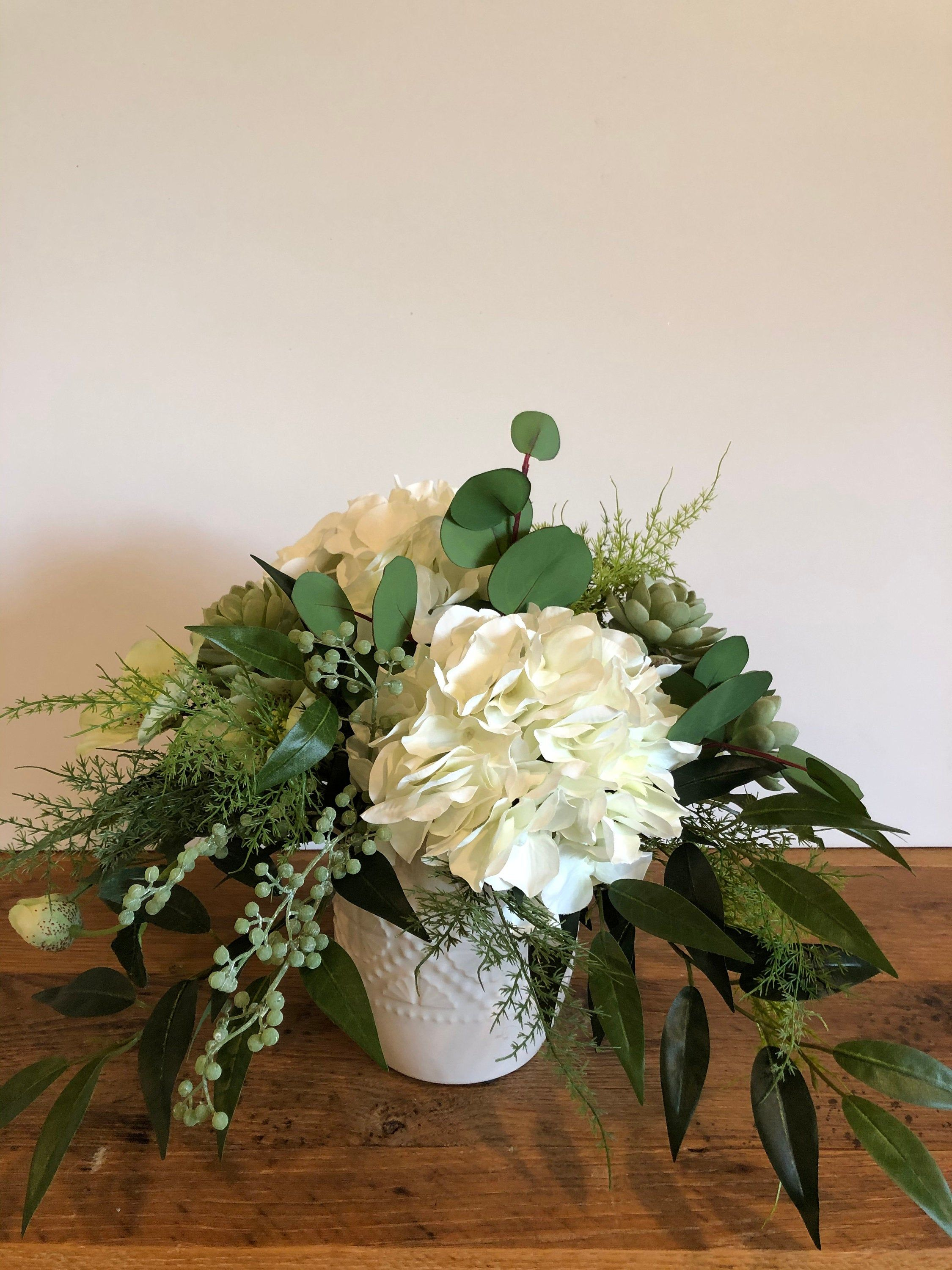 Dining Table Floral Arrangement White Hydrangea Floral Etsy Table Floral Arrangements White Hydrangea Floral Arrangements