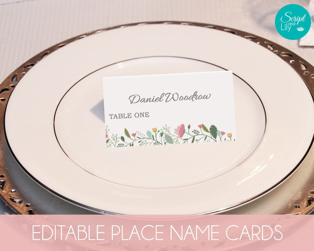 Garden Flower Place Name Cards | INSTANT DOWNLOAD | DiY | Editable ...