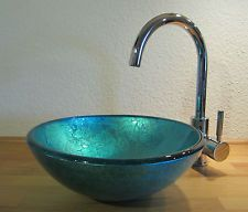 Waschbecken rund glas  Bad Gäste-WC Waschtisch Aufsatz Glas Waschbecken Waschschale rund ...