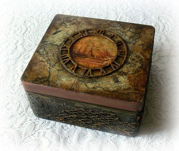 Vintage Style Wooden Box Antique Map Box Keepsake Box Decoupage - Antique map box