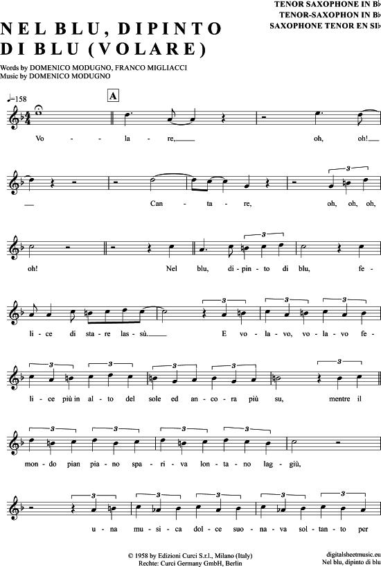 Volare Tenor Sax Domenico Modugno Pdf Noten Klick Auf Die Noten Um Reinzuhoren Noten Und Playback Zum Download Fur Ve Saxophon Saxophon Noten Noten