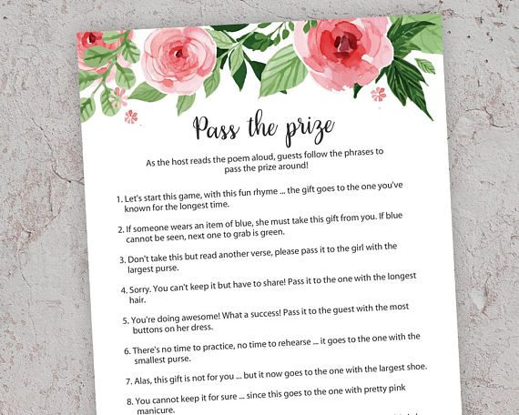 pass the prize baby shower games floral baby shower rhyme