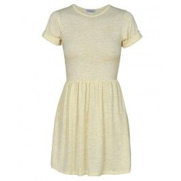 Yellow Short Sleeve Melange Skater Dress £ 13.95 #chiarafashion
