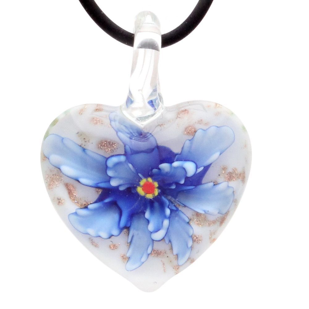 Bleek2Sheek Murano-inspired Glass Royal Blue Confetti Heart Flower Pendant Necklace
