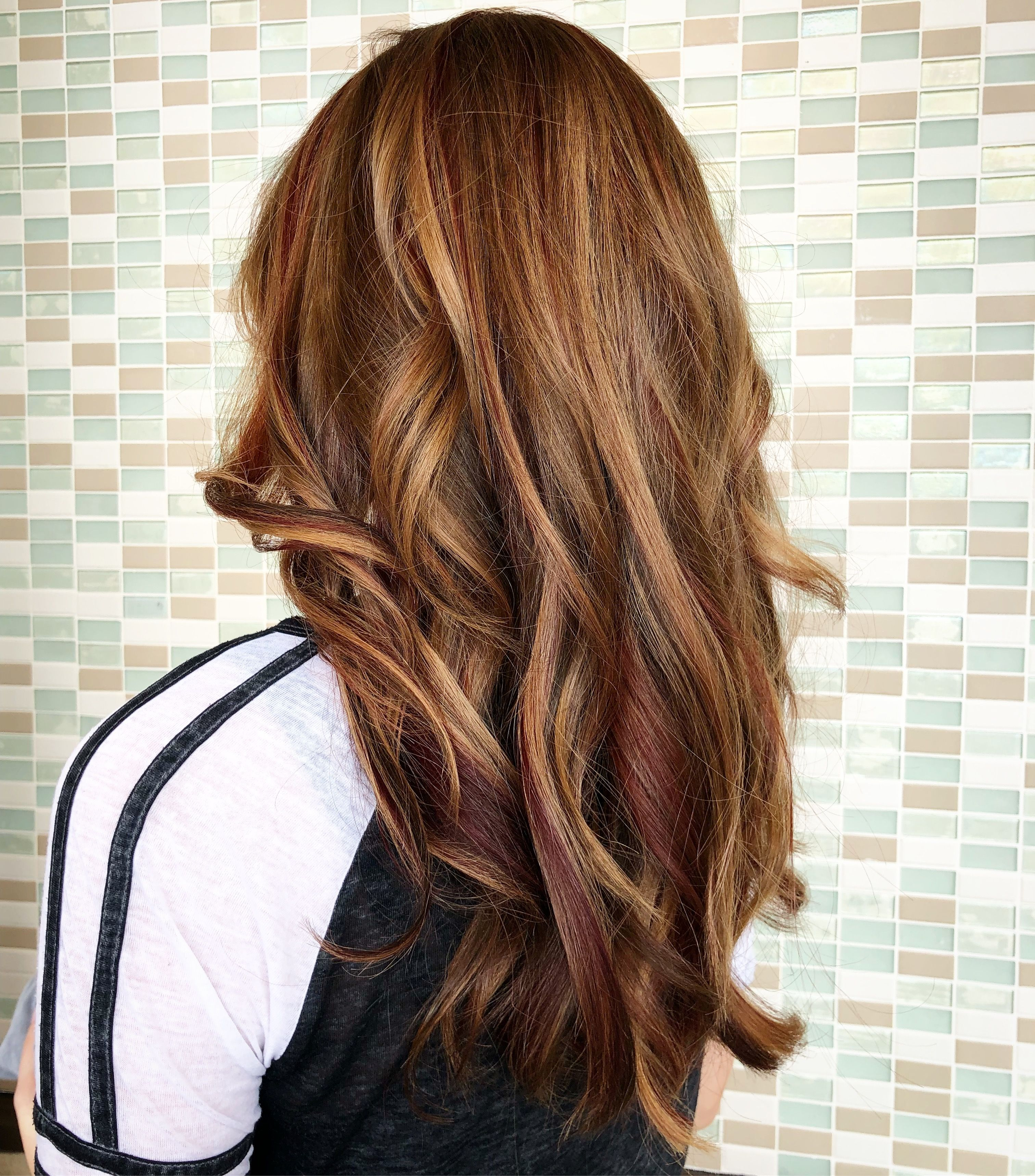 Blonde Brunette And Red Slices Long Hair Styles Cosmetologist Hair Styles