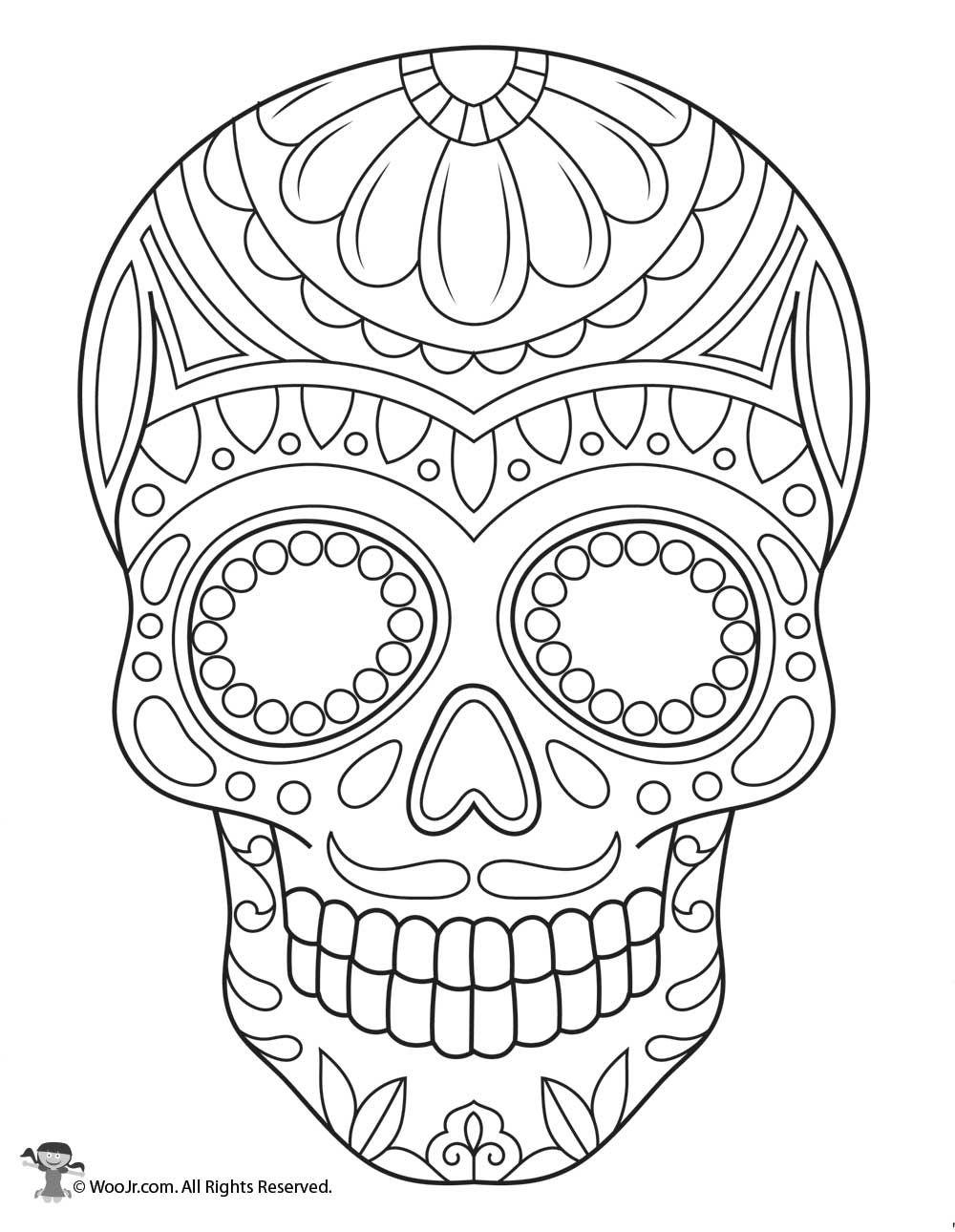 Sugar Skull Coloring Page Woo Jr Kids Activities Skull Coloring Pages Sugar Skull Art Drawing Sugar Skull Drawing