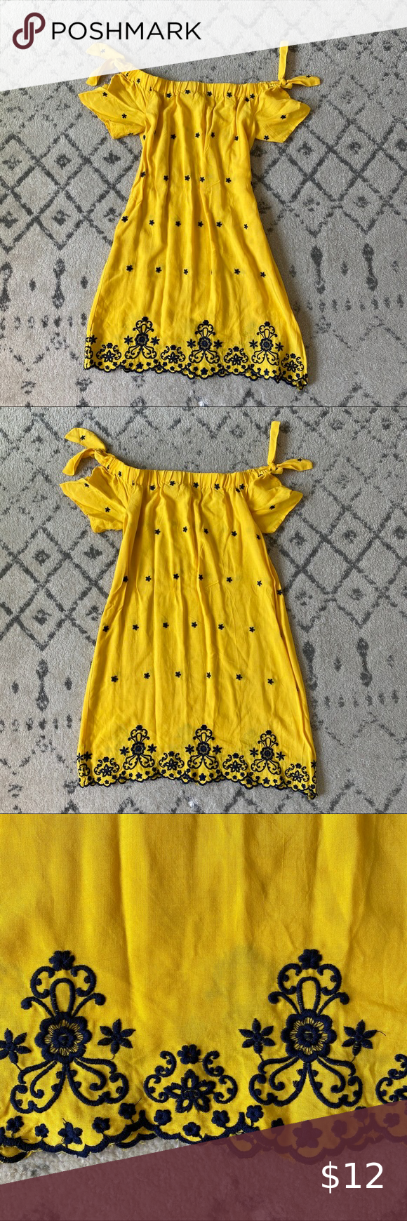Yellow Off The Shoulder Dress Never Worn Dresses Bright Yellow Dress Shoulder Dress [ 1740 x 580 Pixel ]
