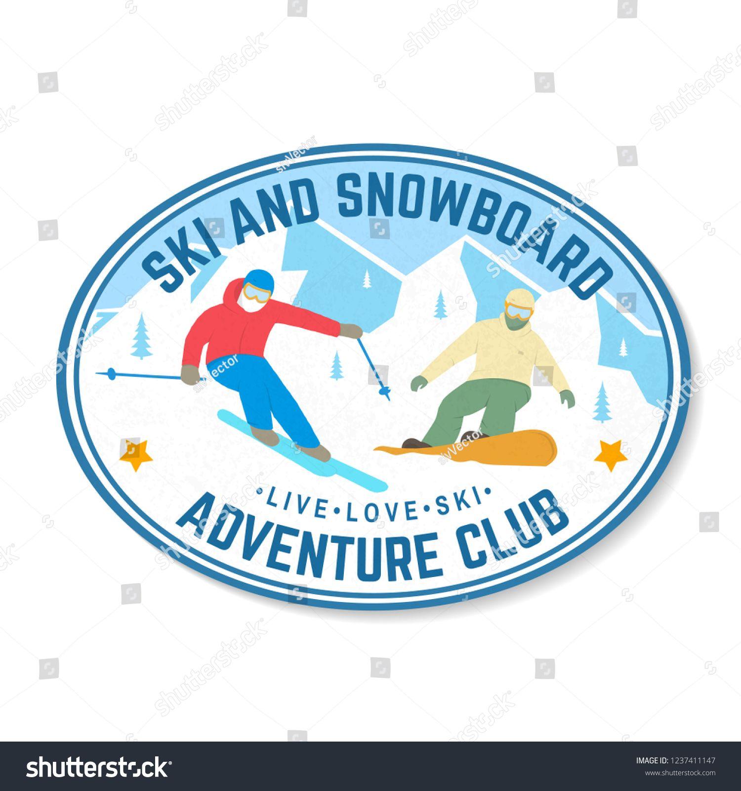 Ski And Snowboard Club Vector Illustration Concept For Shirt Print Stamp Badge Or Tee Vi Vintage Typography Design Winter Extreme Website Template Design