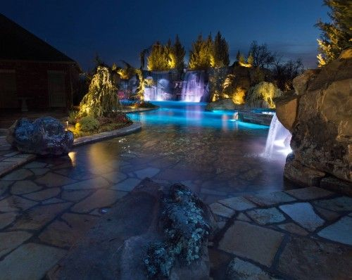 Ultimate Family Entertainment! Swimming Pool Design Complete With A Lazy  River, Two Grottos,