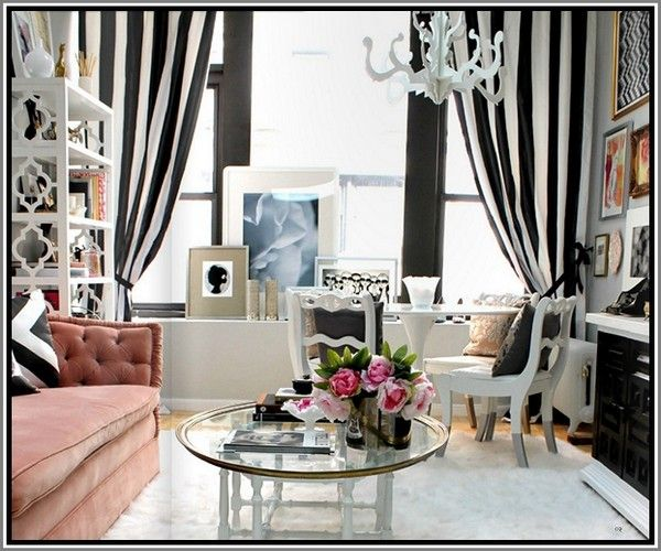 black and white striped curtains  9