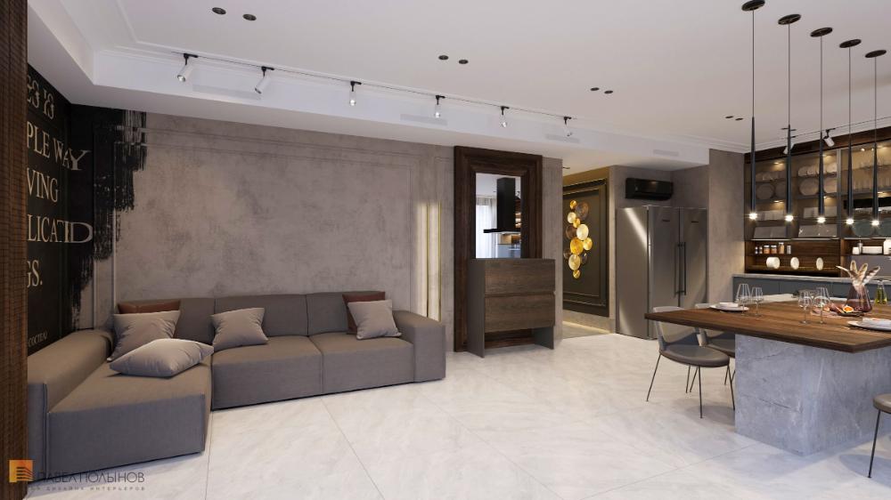 Фото кухня-гостиная из проекта «Квартира в современном ...