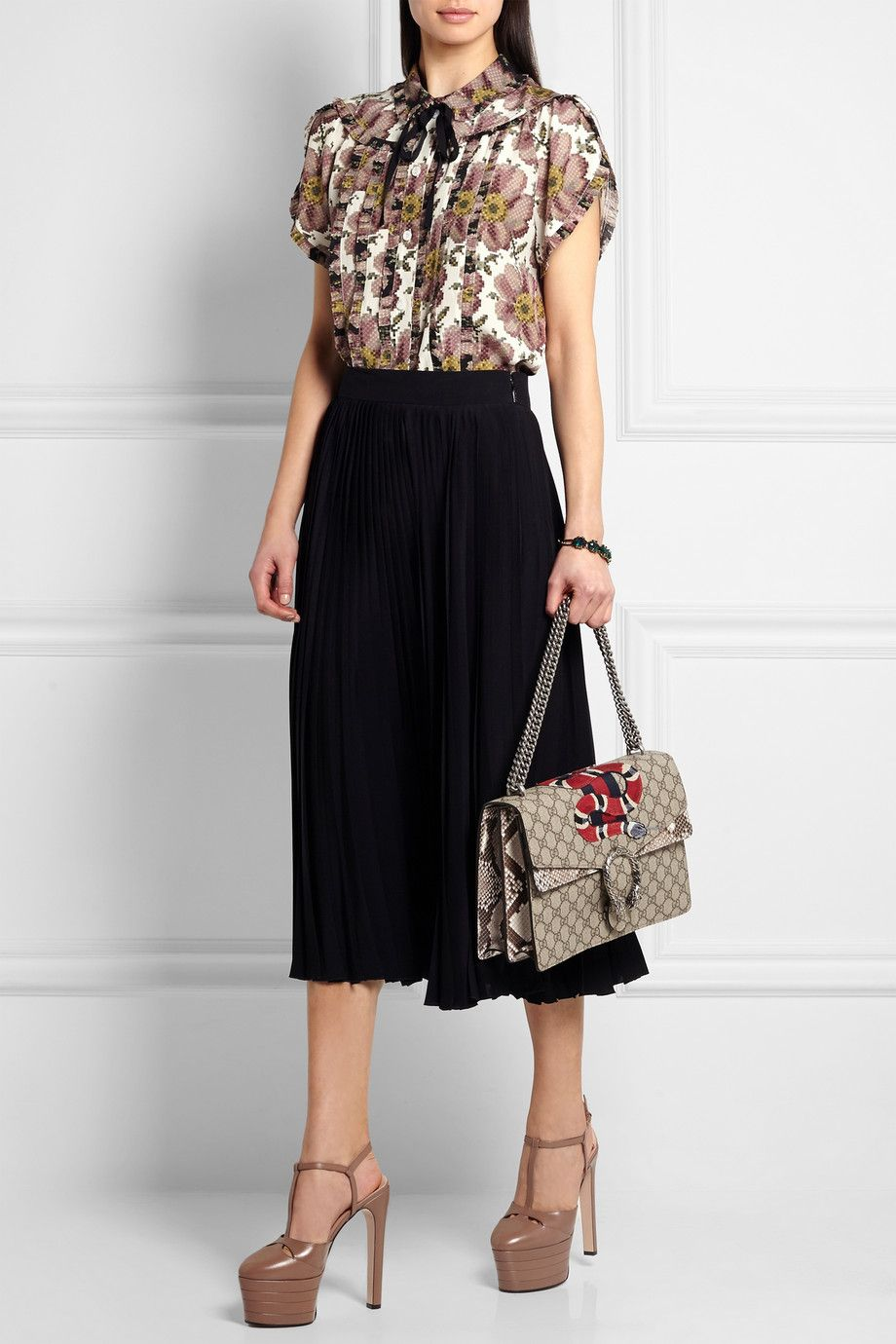 Gucci | Dionysus medium appliquéd coated canvas and python shoulder bag | NET-A-PORTER.COM