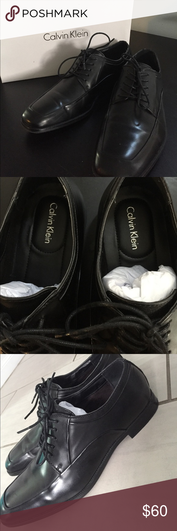 Calvin Klein Men's Black Dress Shoes Size 9.5 Hester Smooth, men's dress shoes. All black. Worn once. Practically brand new condition! Calvin Klein Shoes