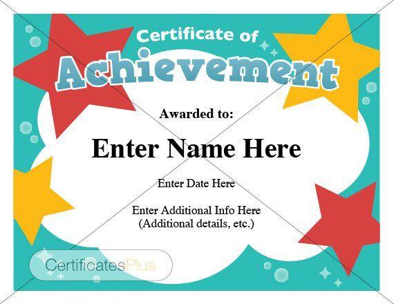 Certificate of Achievement, kid certificate, child certificate