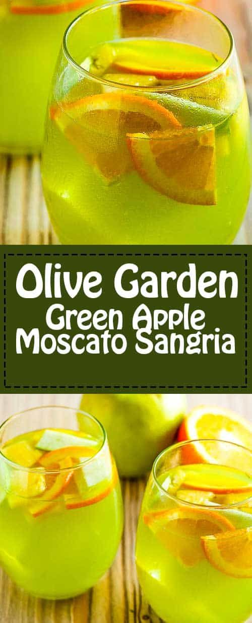 Olive Garden Green Apple Moscato Sangria Learn how to make Olive Garden Green Apple Moscato Sangria with only 3 ingredients. Invite your friends and make a pitcher of sangria with this easy copycat recipe. Great for fall entertaining!