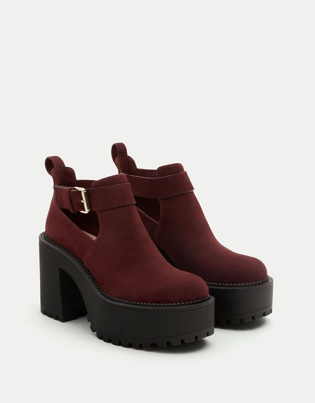 8ca61aea673 Pull Bear - mujer - ropa - favoritos p b black friday - botín plataforma  track - burdeos - 11109311-I2017