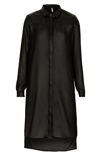Topshop 'The Collection Starring Kate Bosworth' Leather Trim Shirtdress ++ Nordstrom