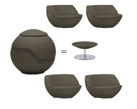 four outdoor chairs and coffee table stack up to look like a golf ball sculpture when - Garden Furniture Unusual