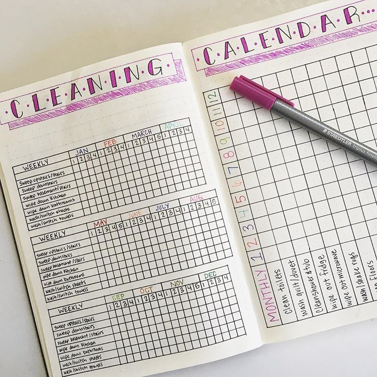 17 Bullet Journal Cleaning Tracker Ideas To Keep Your Home Bright and Shiny - TheFab20s