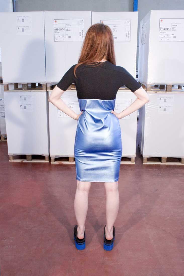 METALLIC BLUE DRESS back // #kissharder #kiss #harder #cool #hot #style #streestyle #fashion #black #blue #metallic #dress #back