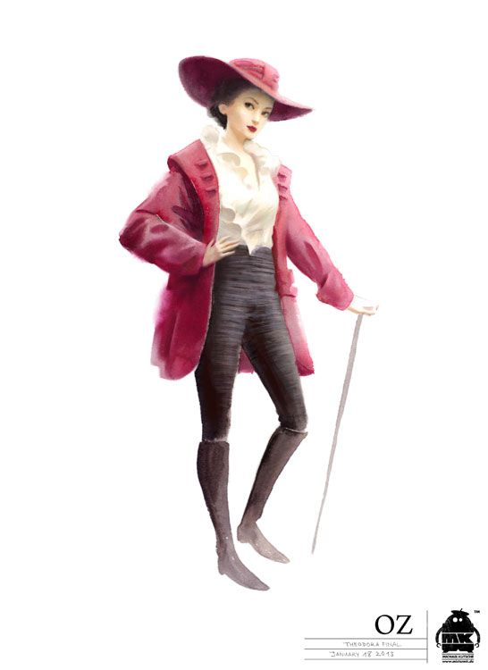 "Theodora, Evanora's younger sister, wearing a Victorian riding habit, with a wide-brimmed hat huge red velvet, a red coat, black breeches and a white blouse. Their outfits are based on the fashion of the early 1900s, which were used in these to make the hats quite quirky. Theodora's wardrobe is almost a mosaic of fashion from different eras, does not belong to any particular period. ""Everything with some eighteenth-century pastoral atmosphere one might find in a painting by Fragonard"""