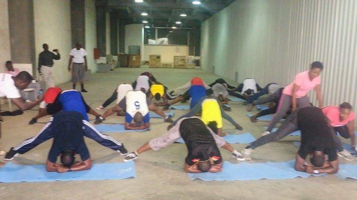 """It might not be perfect, but it's a progress"" . #Throwback With #ABB Nigeria .  #Thefitnesshubng #Teambonding #yoga #workout #stretch #tuesdayvibes #tuesdaymotivation #fitnessworkout #goals #fitnessmotivation #fitfam #fitnessjourney #staysafe #teambuilding #games #corporatefitness #fitnesslifestyle #fitnessmood #nopainnogain #ikeja #lagos #nigeria"
