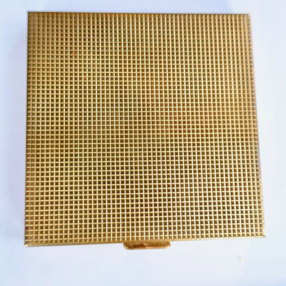 Photo of Volupte Mirrored Powder Compact Puff Textured Design Square Gold Unused Vintage …