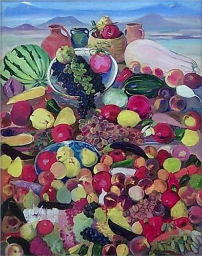 The fruits from rocky slopes of Aragats - Martiros Saryan