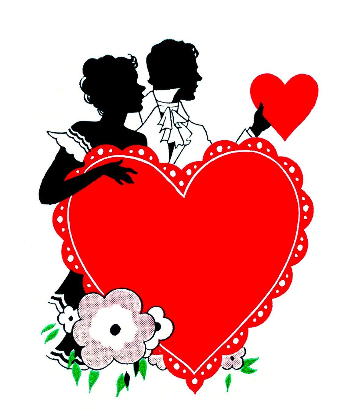 Vintage Valentine S Day Clip Art Romantic Silhouettes Valentines