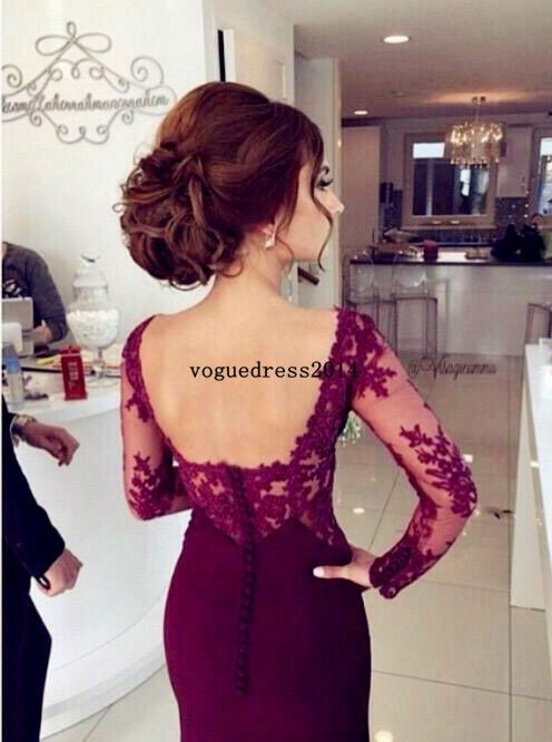 Buy Elegant Prom Dress/Evening Dress - Burgundy Mermaid with Lace Long Sleeves Evening Dresses under US$128.99 only in SimpleDress