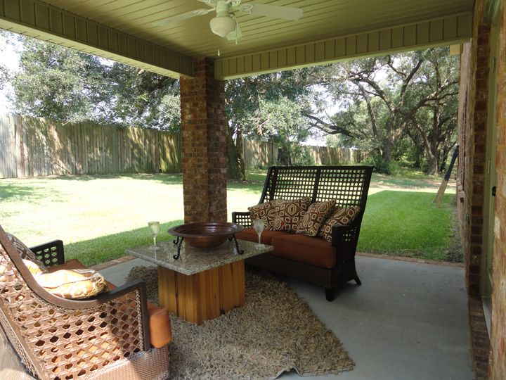 The Bridgeview Floor Plans Covered Back Patio Makes A Great Sitting Area On Those Cool Fall Nights Http Www Panhandle360 Outdoor Living Patio Florida Home