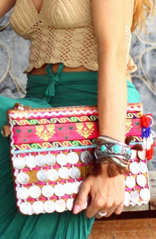 A Bohemian Style Vintage Coin Embellished Clutch Bag Handmade in India.  Find this Pin and more on Boho Bags ... 7a0a68d8db6c7