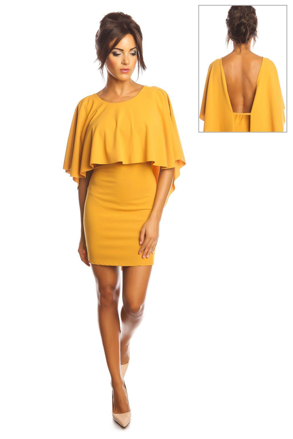 Vente FIVE / 25180 / Robes et combinaisons / Robes à manches courtes et  longues / Robe cape Moutarde