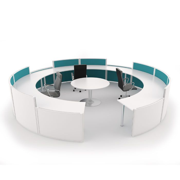 Circular office desks Curved Beautiful Partitioned Reception Desk Available Here Httpwwwbarkhamofficefurniture Optampro Pin By Barkham Office On Cool Office Meeting Room Pods In 2018