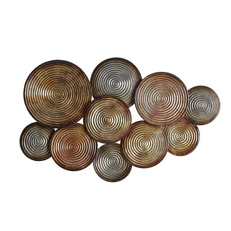 Elements Embossed Circles Metal Wall Decor Brown