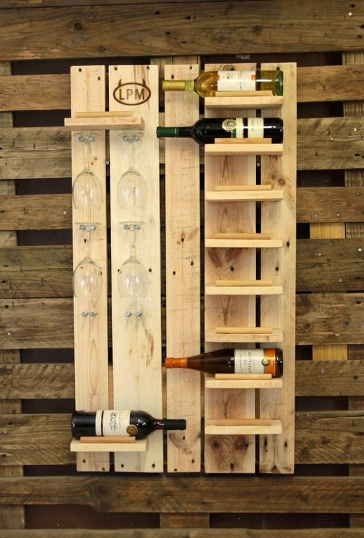 Pallet Wine Rack with Glass Holders | This old House | Pinterest ...