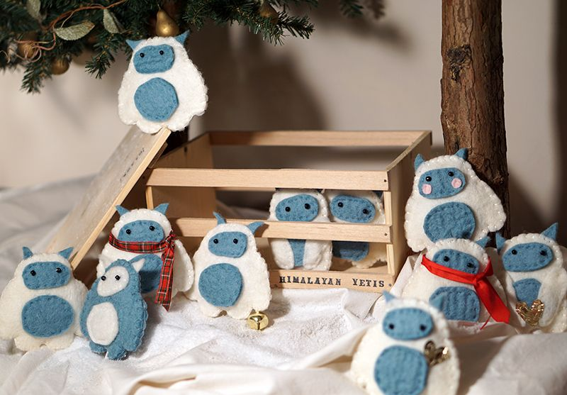 Set of 11 Yeti felted ornaments