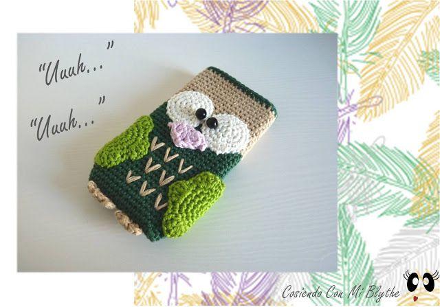 """Funda de crochet para móvil """"Búho"""" - https://www.etsy.com/listing/129771057/funda-para-movil-de-ganchillo-o-crochet?ref=v1_other_2"""