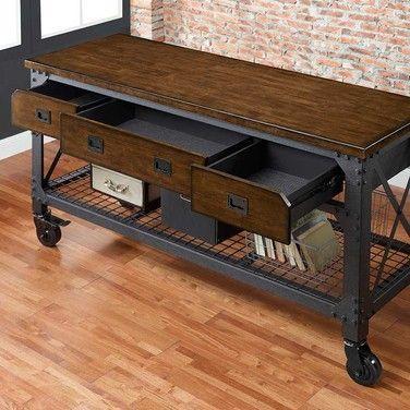 Whalen furniture mueble hierro y madera soldar weld for Mueble tv industrial