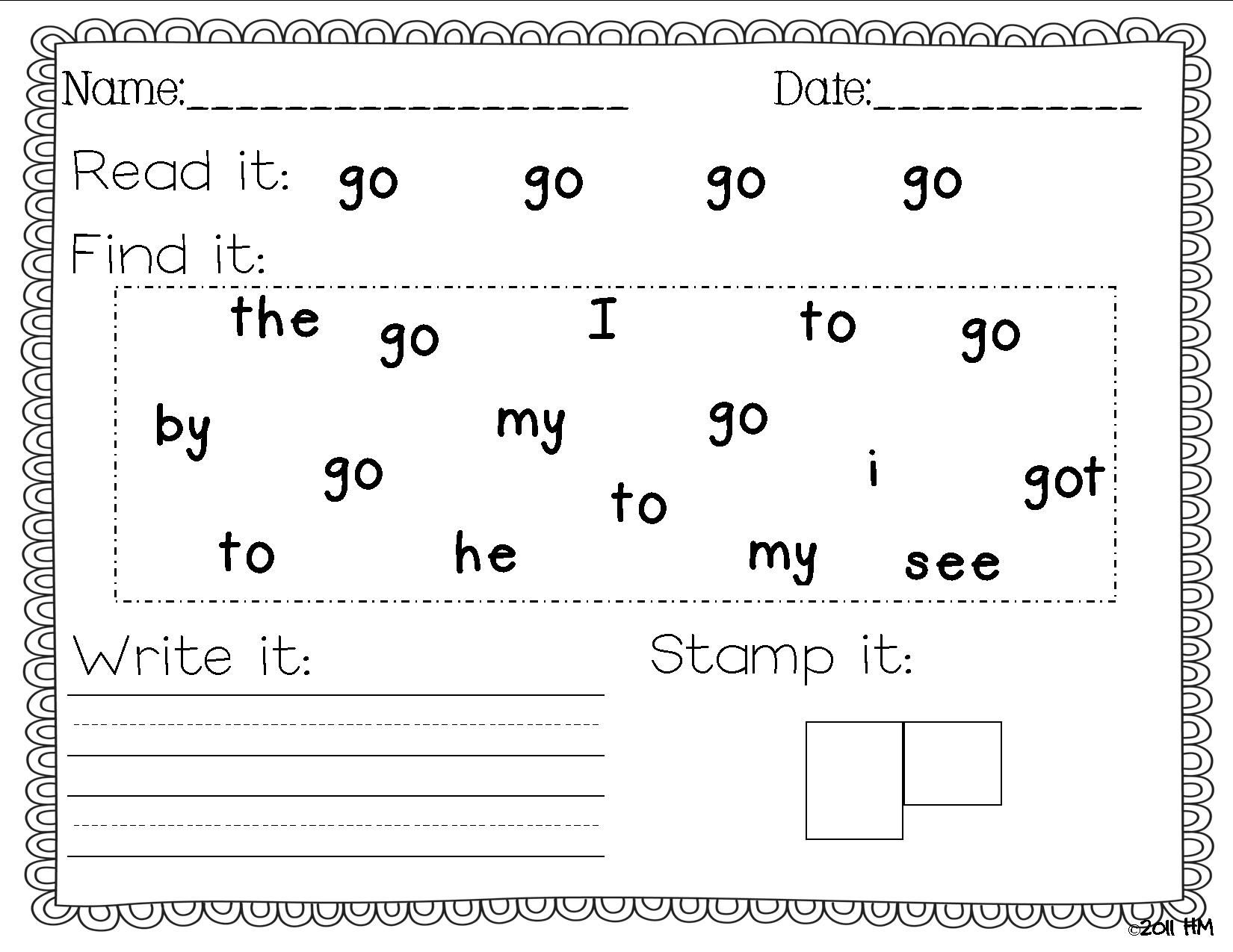 Sight Words Worksheets For Kindergarten 1