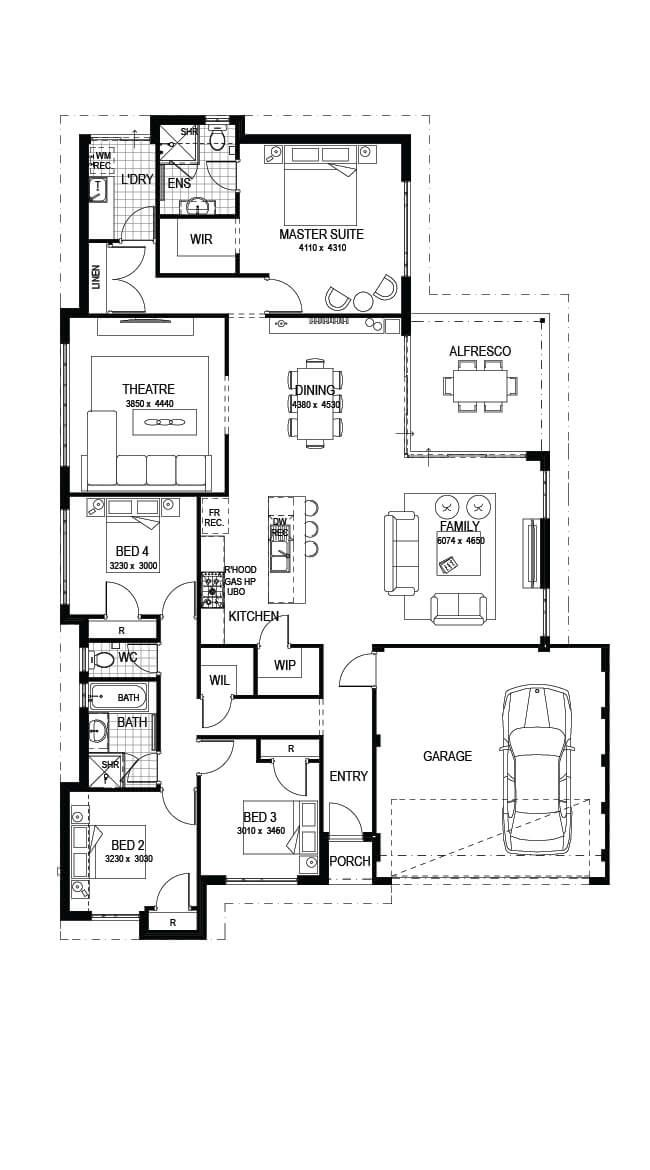 The Heston 4 Bed 2 Bath 15m Luxury One Storey Home Plan Impressions Home Design Floor Plans House Construction Plan 4 Bedroom House Plans