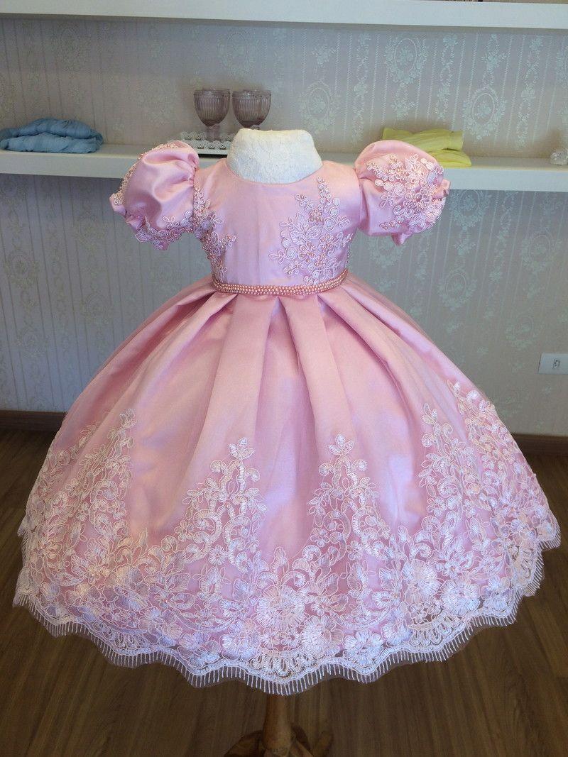Vestido de festa infantil rosa 1 ano