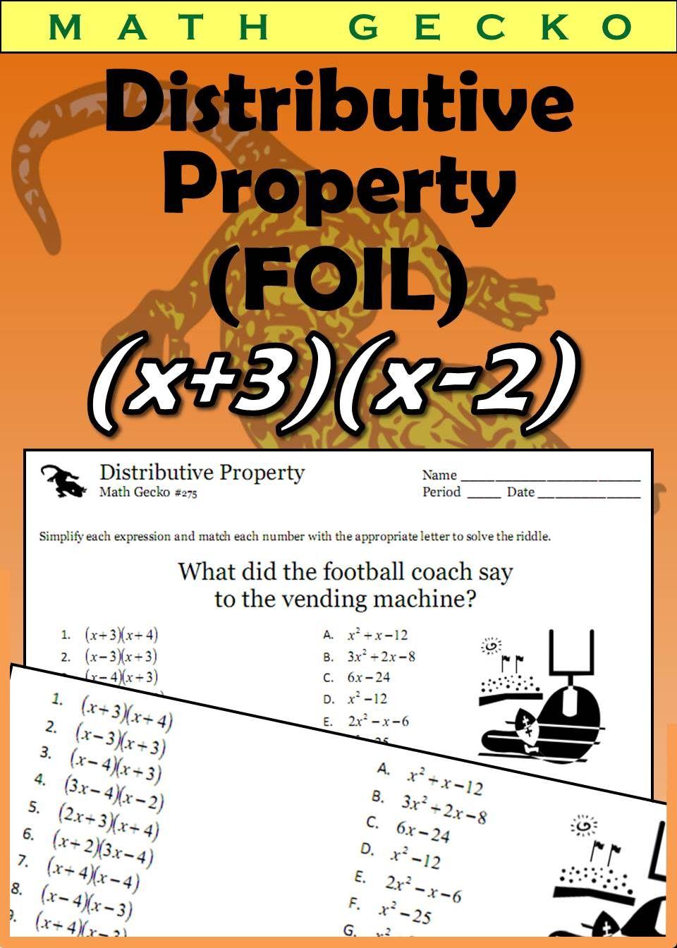 Distributive Property Riddle Foil Binomial Expression Distributive Property High School Fun [ 1344 x 960 Pixel ]
